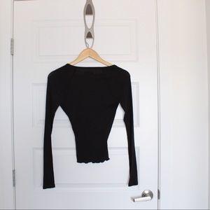🦋2/10🦋 Black Long Sleeve Ballet Wrap Top